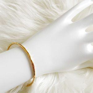 Ippolia Rose Gold Hammered Thin Bangle Bracelet
